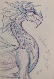 Dragon sketch by Sophie E Tallis
