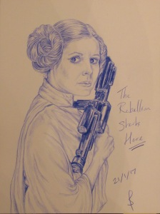 My blue toned drawing of Carrie Fisher as Princess Leia by Sophie E Tallis