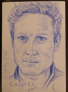 Pencil portrait of James Norton.