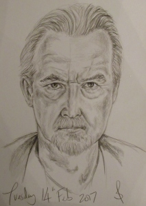 Pencil portrait of actor, Trevor Eve