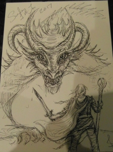 Dragon and warrior sketch by Sophie E Tallis