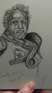 Saw Gerrera character sketch (from Rogue One) by Sophie E Tallis