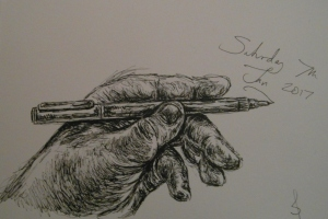 Hand study in pen & ink by Sophie E Tallis