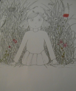 My rough illustration from my children's book, The Little Girl Who Lost Her Smile', by Sophie E Tallis